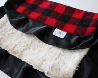 Buffalo check with Rabbit Fur Minky Back and Black Satin Trim LOVIE Blanket, Baby Girl or boy, Baby Shower, Red and Black, Flannel, Plaid