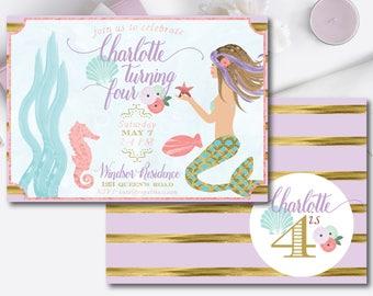 mermaid invitation-mermaid party-purple mermaid-mint mermaid-gold mermaid-pink mermaid-teal mermaid-DIY-digital download-custom invitation