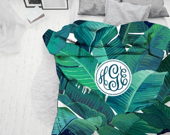 Custom Monogrammed Duvet cover Set-Personalized Monogram palm plant green natural