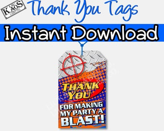 Dart Gun Birthday Party Thank You Tags for Goody Bags or Treat Bags | Dart Wars Party Favor Tags | Thank You Card |