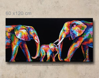 60 x 120 cm, colorful elephant painting, wall decor