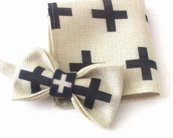 bow, bow-tie, pocket square, set with black-creme kross