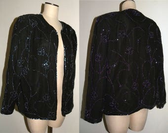 1980s 80s Beaded Evening Jacket / BLACK Luxe Duster / Vintage size XL