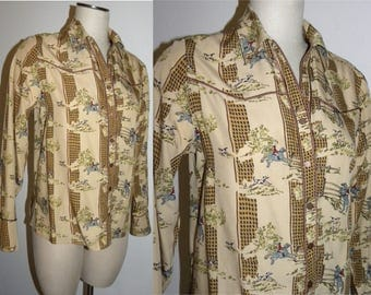 1990s 90's EQUESTRIAN Blouse / Liz Claiborne Fox Hunt print / Horses Dogs English Rider / western / snap front / Vintage M