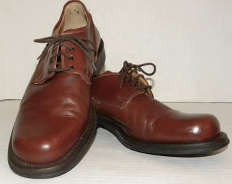 Vintage 90s Bacco Bucci Lace up Oxfords shoes / Brown Leather Made Italy / Luxury Brand / Men's 11 D