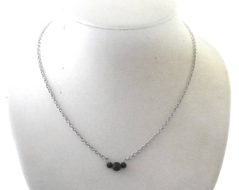 Lava stone necklace, black 4 + 6 mm lava stone beads, stainless steel chain and finishing, lava stone, lava rock, essential oil diffuser