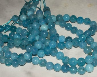 23 Medium Blue Agate Gemstones - 8MM