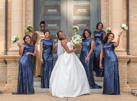 Navy Sequin Bridesmaid Dresses Fashion Dresses