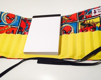 Spiderman inspired themed Crayon roll with Doodle pad