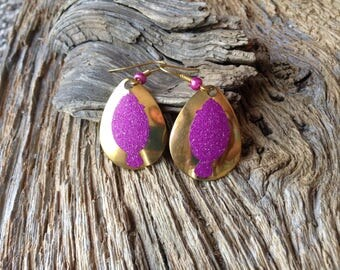 Flounder earrings: pink glitter flounder and gold earrings, fishing spoon earrings, lure blade earrings, flounder jewelry