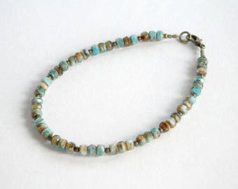 Aqua and Brown Bracelet - Czech Glass Bead Bracelet - Aqua White Brown - Small Bead Bracelet - Antique Gold Bracelet - Dainty Bracelet
