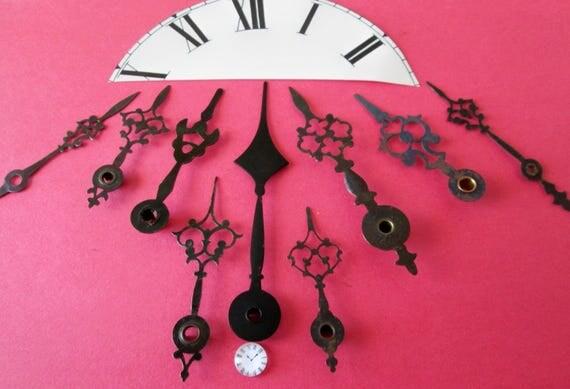 9 Large Antique Fancy Steel Clock Hands - Make Clocks - Jewelry - Steampunk Art