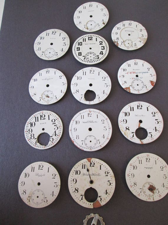 Lot 2    14  Assorted Antique and Vintage Ceramic Pocket Watch Dials for your Watch Projects - Jewelry Making - Steampunk Art