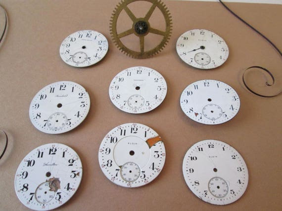 Lot 4  - 8 Assorted Antique and Vintage Ceramic Pocket Watch Dials + 1 Clock Gear for your Watch Projects - Jewelry Making - Steampunk Art
