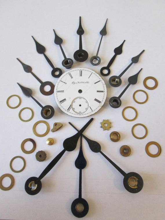 Lot 11 - 1 Antique Elgin Ceramin Pocket Watch Dial with 12 Vintage Spade Design Hands for your Watch Projects - Jewelry Making - Steampunk