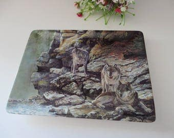 Wildlife plate, Cliff Dwellers, Wolves, Decorative plate, Bradford exchange, Gift for him, Kerri Burnett