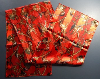 "13 1/2"" x 60"" Red Horse Saddle Tack Long Womens Scarf Silky Semi Sheer"
