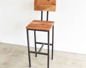 Reclaimed Wood Bar Stools With Hand Welded Steel Base
