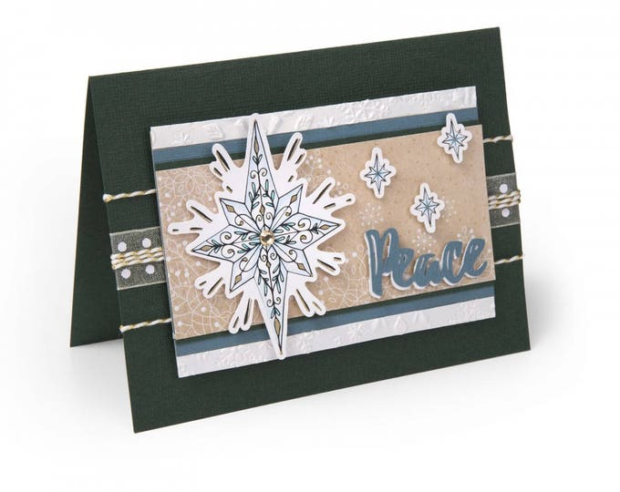 New! Sizzix Framelits Die Set 4PK w/Clear Stamps - Christmas Star by Katelyn Lizardi 662462