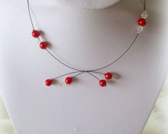 Red and black wedding Pearl Necklace