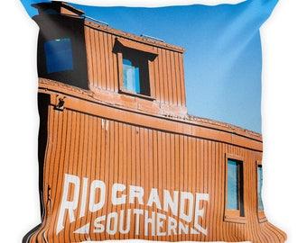 Square Pillow - Red Silo Original Art - Rio Grande Southern Caboose Train Car