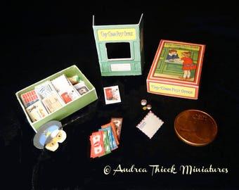 Vintage Miniature Post Office Game 2 - Artisan Handmade Miniature 1:12 scale
