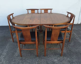 Dining Set 9PC Vintage Asian Chinese Table Chairs Dinette Kitchen Chinoiserie Bistro Poker Tea Bar Set Mid Century Modern Retro MCM Chair