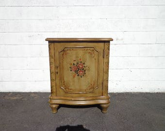 Cabinet Country French Provincial Tole TV Stand Entry Way Console Storage Nightstand Bedside Table Shabby Chic Dresser CUSTOM Paint Avail