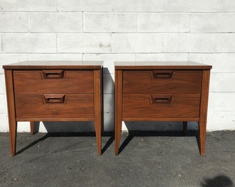 Pair of Nightstands Vintage Furniture Bedside Tables Wood Mid Century Modern Cabinet Credenza Storage Media Boho Chic CUSTOM PAINT AVAIL