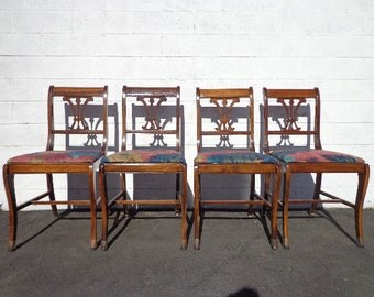 4 Chairs Set of Dining Chairs Antique Chairs Hepplewhite Harp Back Wood French Provincial Dining Set Table Chair Country CUSTOM PAINT Avail
