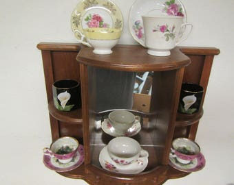 Mirrored Wood Curio Shelf ** Display shelf , Cup & Saucer display** Wall Mount or Table top
