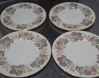 4 Wedgwood 'Lichfield' Vintage Autumn Plants Tea Side Cake Plate Plates 207 mm