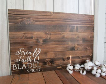 Rustic Last Name Wood Sign - Wedding Guest Book Alternative - Guest Sign In - Country Wedding Decor - Choose Your Colors - MADE TO ORDER