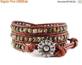 SALE Leather Wrap Bracelet Rhyolite Gemstones Daisy Button Beaded Jewelry