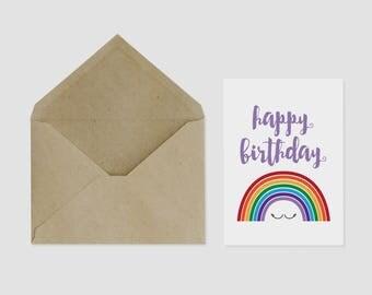 Happy Birthday Greeting Card Rainbow A6