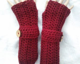 Crochet Fingerless Koralyne Gloves-Wine
