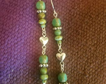 Green and silver Dangle Earring