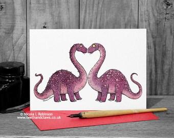 Dinosaur Valentine Card, Dinosaur Love Card, Valentine's Day, Diplodocus, Dinosaur greeting card, Valentines Card, Alternative, Children
