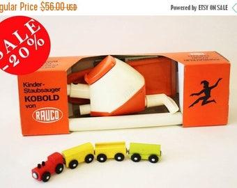 RAUCO KOBOLD Toy Vacuum Cleaner from 70's in Retro Orange