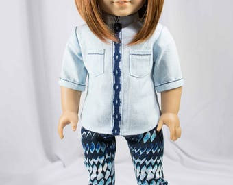 """American Girl or 18"""" doll TUNIC Top Shirt in Blue Chambray with Lace Trim LEGGINGS Jeggings Tights in Blue White and SHOES Option"""