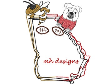 State of Georgia House Divided Football embroidery design, State of Georgia with Yellow Jacket and bulldog, Vintage stitch Georgia