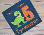 Dinosaur birthday shirt - trex birthday shirt - tyrannosaurus Rex shirt - pterodactyl shirt - dinosaur party - boy birthday shirt - navy