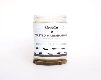 READY TO SHIP Toasted Marshmallow Scented Soy Candle, Natural Strong Fragrance Throw, Hand Poured, Pennsylvania Made, Campfire, Summer