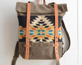 Waxed Canvas Backpack with Rancho Arroyo Pendleton® Fabric