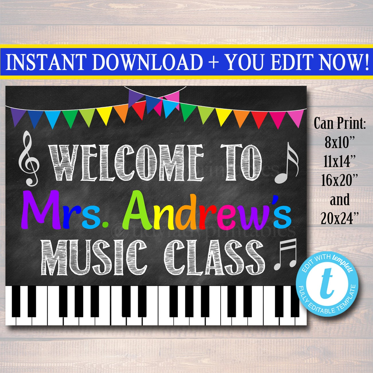 Music Teacher Classroom Decorations ~ Music teacher classroom door sign printable decor