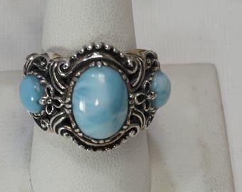 Vintage Sterling Larimar Ring