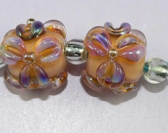 Handmade Lampwork Glass beads Flowers Earring pair in Orange and Silver Glass SRA