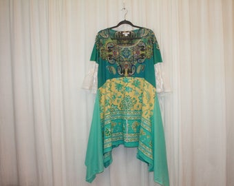 Boho chic dress Hippie Gypsy top Summer fashion Blue green yellow top Embellished dress Music festival Bohemian dress Upcycle clothing XL-1X