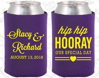 Hip Hip Hooray Wedding, Unique Wedding, Our Special Day, Heart, Beverage Insulators (36)