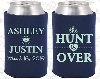The Hunt is Over Wedding Gift, Personalized Gift, Shooting Target, Wedding Can Coolers (22)